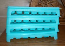Vintage Set of 4 TUPPERWARE ICE CUBE TRAYS Blue Difficult to Find EUC Legs Stack