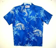 Men's Vintage 1960's NANI Hawaiian Aloha Shirt ROYAL BLUE Tropical Floral Medium