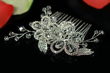 Silver-plated Sparkling Crystal Floral Bridal Wedding Side Comb