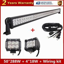 "50"" 288W Combo Led work light bar SUV offroad + 2X 4"" 18W Pods + Free Wiring Kit"