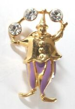 Brooch Lapel Pin  Trifari Clown Juggler Purple Enamel Gold Tone Rhinestones 1997