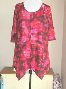 New plus size 26/28 tunic top with pointy hemline in beautiful print