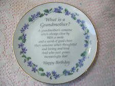 """LASTING MEMORIES GRANDMOTHER BIRTHDAY 6 1/4"""" Plate """" What is a grandmother?"""""""