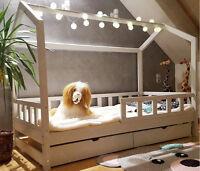 Lit cabane, Lit pour enfants,lit d'enfant,lit cabane avec tiroir & barrière