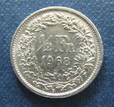 Münze 1/2 Schweizer Franken 1968 aus Umlauf gültiges Zahlungsmittel Sammler