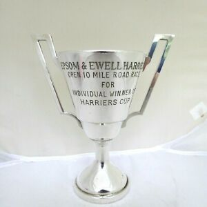 """VINTAGE SILVER PLATE TROPHY CUP 10 MILE ROAD RACE  HARRIERS CUP 7.5"""" TALL GLEAMS"""