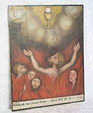 Holztafel Gemälde ARME SEELEN Tafel Fegefeuer Votivbild Barock Bayern ~1750-1800