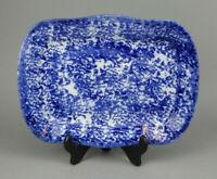 Antique Spongeware Platter Blue & White