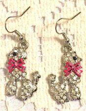 Color Animal Dangle Hook Earrings Beautiful Dog Pink Bow Rhinestones Silver