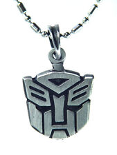 """BUTW-  Pewter Autobot Symbol Pendant Necklace Bead 24"""" Stainless Chain  1004K"""