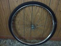 "Used Front Wheel Bicycle Rim, Tire & Axle 26"" Lady's Huffy With 1 Missing Spoke"