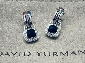 David Yurman Sterling Silver Albion 7mm Black Onyx & Diamond Drop Earrings