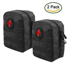 2pcs Tactical Molle EMT Medical First Aid Pouch Bag with Red Cross Patch Black