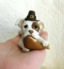 Pitbull Naughty pup Thanksgiving Turkey hand sculpted Furever Clay