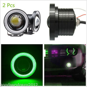 "2 X 2.5"" COB LED Green Angel Eye Automobile DRL Daytime Running Lights Fog Lamps"