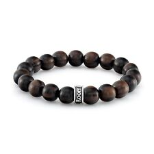 ROOM101  10MM NATURAL DARK  WOOD  STRETCH  BRACELET WITH SILVER LOGO