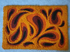 """Vintage 1960s Abstract Homemade Latch Hook Rug Wall Hanging Art - 25""""x 36"""""""
