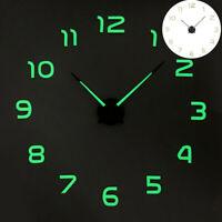 Luminous Wall Clock Modern Design Watch Digital Large Big 3D DIY Home Decor