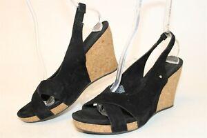 UGG Australia Uggs Womens 10 41 Hazel Black Suede Sandals Sling Backs Shoes 1771