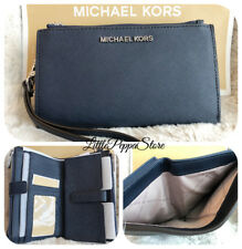 NWT MICHAEL KORS SAFFIANO LEATHER JET SET TRAVEL DOUBLE ZIP WALLET IN NAVY