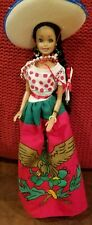 "All Plastic/Vinyl Mexican DOLL & Dress GIRL & Stand 11"" Black Hair Sombrero"