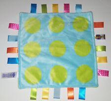 Taggies Green Polka Dot Circle Security Blue Baby Blanket Taggie Lovey Sensory