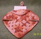 Vintage Hand Crocheted POTHOLDER with Tablet & Pencil