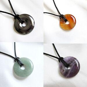 Small Round Semi Precious DONUT BEAD PENDANT & Cord Necklace - Choice of Stones