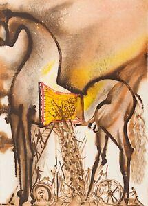 Salvador Dali - Trojan Horse (signed lithograph, 1983)