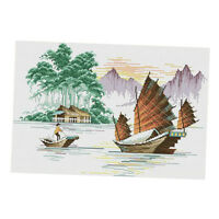 Pre-Printed Sailboat Cross Stitch Kit 11CT Embroidey Craft Counted & Stamped