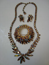 VINTG SHERMAN SIGNED PARURE - NECKLACE - BROOCH - EARRINGS - MIXED TOPAZ SHADES
