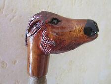 poignée de canne/parapluie -animal en bois sculpté main polychrome -cerf