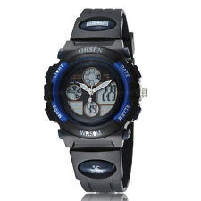 Ohsen Child Pupill Digital & Analog Chronograph Alarm Sport Wrist Watch Blue