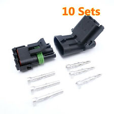 10 Sets Car Parts New Waterproof Delphi Male Female Atuo Connector Plugs 3pins