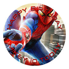 SPIDERMAN PERSONALISED EDIBLE ICING IMAGE PARTY CAKE TOPPER ROUND