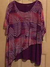 WOMENS CATHERINES 5X TOP SHIRT MULTICOLOR NWT PURPLES PINK FLORAL/LEAVES 34/36W