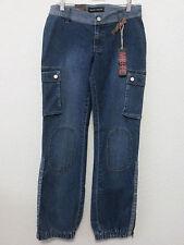 Miste Jeans Junior Girls Cargo Pants Blue Stretch Denim Size 7 Ankle Zippers