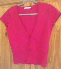 Ladies Size S Fuscia M & Co Short Sleeved cotton/nylon Cardigan