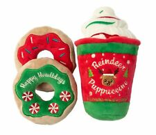 NEW! REINDEER PUPPUCCINO DOG TOY 3pc SET PLUSH CHRISTMAS DONUTS COFFEE