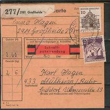 PAKETKARTE Bundespost 1967 Schnellpaket GROSSHEIDE MÜLHEIM Ruhr MiF