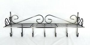 Wrought Iron 7 Hooks With Hat Shelf Wall Door Finished in Black