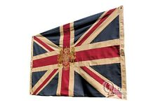 More details for large vintage union jack flag with royal coat of arms embroidered crest