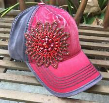 NWT Olive & Pique Bella Glitz Deco Two Tone Washed Baseball Hat - Red/Gray
