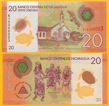 Nicaragua 20 Cordobas p-210 2014 UNC Polymer Banknote