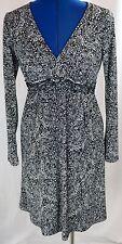 Mimi Maternity Small Maxi Dress Black White S Paisley Long Sleeve V Neck Shift