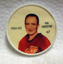 1961-62 Shirriff Hockey Coin No. 67 Val Fonteyne Detroit Red Wings Jello wku3