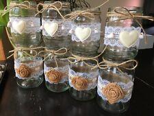 8 Rustic Wedding Jars Table Centrepiece Candle Holder Vase Decor Handmade