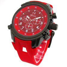 Red Gun Geneva Watch Round Heavy Case Hard Rubber Oversized Sport Men's Wrist