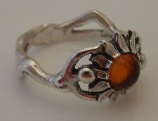 Sunflower Ring in .925 Sterling Silver - Authentic Amber Sz 5 Sun Dancer Goddess