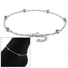 """Figaro Beaded Ankle Bracelet Anklet 925 Sterling Silver 9""""-10"""" Adjustable"""